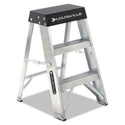 Louisville Ladder Aluminum Step Stool, 2-Step, 17w x 18.25 Spread x 26h, Aluminum/Black