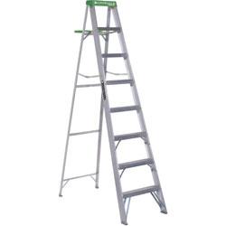 Louisville Ladder #428 Folding Aluminum Step Ladder, 8 ft, 7-Step, Green