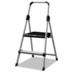 Louisville Ladder Aluminum Step Stool Ladder, 2-Step, 225 lb Capacity, 18.5w x 23.5 spread x 38.5h, Silver