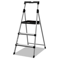 Louisville Ladder Aluminum Step Stool Ladder, 3-Step, 225 lb Capacity, 20w x 31 spread x 47h, Silver
