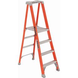 Louisville Ladder Fiberglass Pro Platform Step Ladder, 81 1/4, Orange, 4 Steps