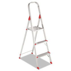 Louisville Ladder #566 Folding Aluminum Euro Platform Ladder, 3-Step, Red