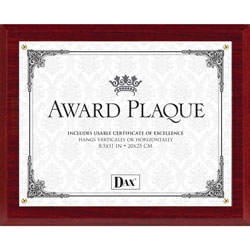 Dax Award Plaque, 13 in x 10 1/5 in, Mahogany