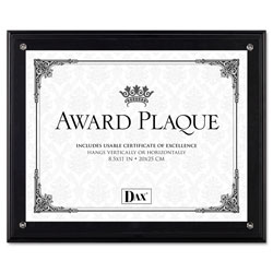 Dax Award Plaque, Wood/Acrylic Frame, Up to 8 1/2 x 11, Black