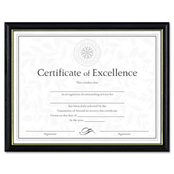 Dax Two-Tone Document/Diploma Frame, Wood, 8 1/2 x 11, Black w/Gold Leaf Trim