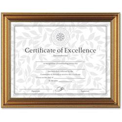 Dax Antique Colored Document Frame w/Certificate, Plastic, 8 1/2 x 11, Gold