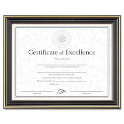 Dax Gold-Trimmed Document Frame w/Certificate, Plastic/Glass, 8 1/2 x 11, Black