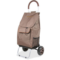 dbest Shopping Trolley Dolley, Beverage Holder, 15 in x 13 in x 38 in, Brown