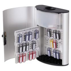 Durable Key Box Plus, 54-Key, Brushed Aluminum, Silver, 11 3/4 x 4 5/8 x 15 3/4