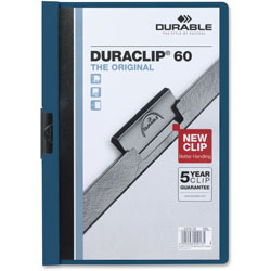 Durable Vinyl DuraClip Report Cover, Letter, Holds 60 Pages, Clear/Dark Blue, 25/Box