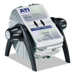 Durable VISIFIX Flip Rotary Business Card File, Holds 400 4 1/8 x 2 7/8 Cards, Black/SR