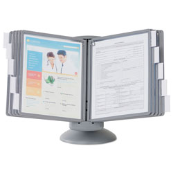 Durable SHERPA Motion Desk Reference System, 10 Panels, Gray Borders