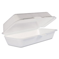 Dart Foam Hot Dog Container/Hinged Lid, 7-1/1 x3-4/5x2-3/10, White,125/Bag, 4 Bags/Ct