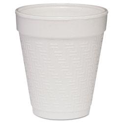 Dart Small Foam Drink Cup, 8oz, Hot/Cold, White w/Greek Key Design, 25/Bag, 40Bg/Ctn