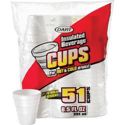 Dart Disposable Foam Cups, Insulated, 8oz., 51/PK, White