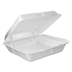 Dart Foam Vented Hinged Lid Containers, 9w x 9 2/5d x 3h, White, 100/PK, 2 PK/CT
