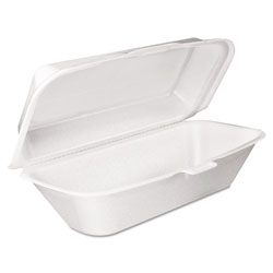 Dart Foam Hoagie Container with Removable Lid, 9-4/5x5-3/10x3-3/10, White, 125/Bag