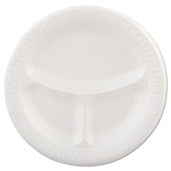 Dart Laminated Foam Plates, 9 in dia, White, Round, 3 Compartments, 125/Pk, 4 Pks/Ct