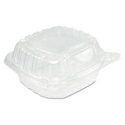 Dart ClearSeal Hinged Clear Containers, 13 4/5 oz, Clear, Plastic, 5.4 x 5.3 x 2.6