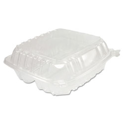 Dart ClearSeal Hinged-Lid Plastic Containers, 8 1/4 x 3 x 8 1/4, Clear 125/PK 2 PK/CT