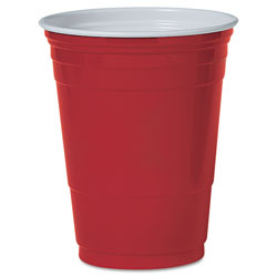 Solo Plastic Party Cold Cups, 16oz, Red, 50/Pack