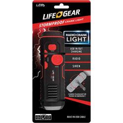 Life+Gear® Flashlight, Crank Radio, 30 Lumen, 1-9/10 inWx6-1/5 inH, Black/Red