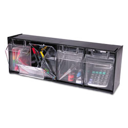 Deflecto Tilt Bin Interlocking 4-Bin Organizer, 23 5/8 x 6 5/8 x 8 1/8, Black/Clear