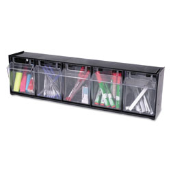 Deflecto Tilt Bin Interlocking 5-Bin Organizer, 23 5/8 x 5 1/4 x 6 1/2, Black/Clear