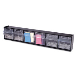 Deflecto Tilt Bin Interlocking 6-Bin Organizer, 23 5/8 x 3 5/8 x 4 1/2, Black/Clear