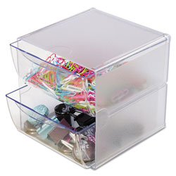 Deflecto Stackable Cube Organizer, 2 Drawers, 6 x 7 1/8 x 6, Clear