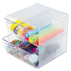 Deflecto Stackable Cube Organizer, 4 Drawers, 6 x 7 1/8 x 6, Clear