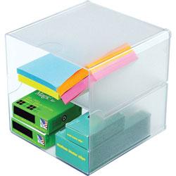 Deflecto Desk Cube, Divided, Clear, 6 x 6 x 6