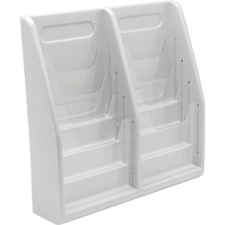 Deflecto Multi Tiered Magazine Holder, 8 Pockets, 20 1/4w x 5d x 19 3/4h, Gray Plastic