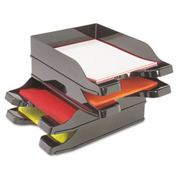 Deflecto Docutray Multi-Directional Stacking Tray Set, 2 Sections, Letter to Legal Size Files, 10.13 in x 13.63 in x 2.5 in, Black, 2/Pack