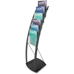 Deflecto Floor Stand, 6 Compartments, 13 in x 16-1/2 in x 49 in, Black