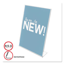 Deflecto Classic Image Slanted Sign Holder, Portrait, 8 1/2 x 11 Insert, Clear