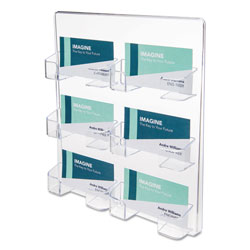 Deflecto 6-Pocket Business Card Holder, 480 Card Cap, 8 1/2 x 9 3/4 x 1 5/8, Clear