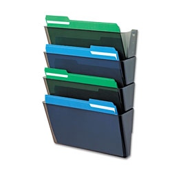 Deflecto DocuPocket Stackable Four-Pocket Wall File, Letter, 13 x 4 x 7, Smoke