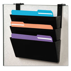 Deflecto DocuPocket Stackable Three-Pocket Partition Wall File, Letter, 13 x 4 x 7, Black