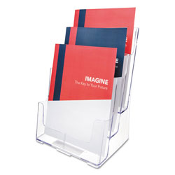 Deflecto 3-Compartment DocuHolder, Magazine Size, 9.5w x 6.25d x 12.63, Clear