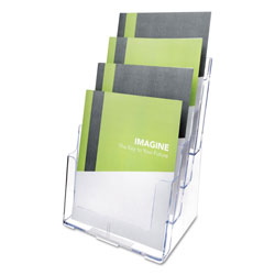 Deflecto 4-Compartment DocuHolder, Magazine Size, 9.38w x 7d x 13.63h, Clear