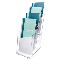Deflecto 4-Compartment DocuHolder, Leaflet Size, 4.88w x 6.13d x 10h, Clear