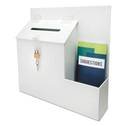 Deflecto Suggestion Box Literature Holder w/Locking Top, 13 3/4 x 3 5/8 x 13, White