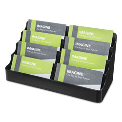 Deflecto 8-Tier Recycled Business Card Holder, 400 Card Cap, 7 7/8 x 3 7/8 x 3 3/8, Black