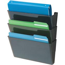 Deflecto Wall Files, 3-Pocket, Letterr, 13 in x 4 in x 19 in, Black
