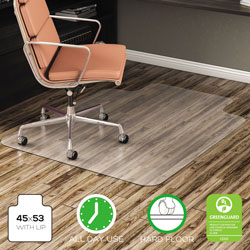 Deflecto EconoMat All Day Use Chair Mat for Hard Floors, 45 x 53, Wide Lipped, Clear