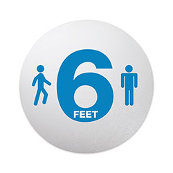 Deflecto Personal Spacing Discs, 6 Feet Apart, 20 in dia, Clear/Medium Blue, 50/Carton