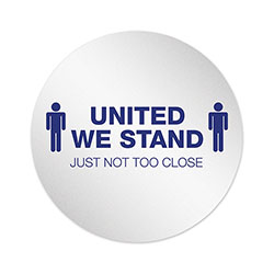 Deflecto Personal Spacing Discs, United We Stand, 20 in dia, White/Blue, 50/Carton