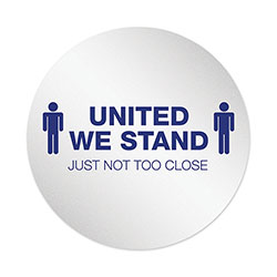 Deflecto Personal Spacing Discs, United We Stand, 20 in dia, White/Blue, 6/Pack