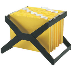 Deflecto File for 25 Letter/Legal Hanging Folders, Plastic, 16wx12dx11h, Black